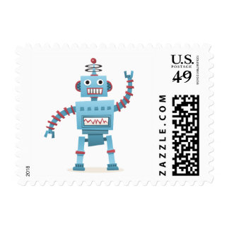 Cute retro robot android kids cartoon postage stamp