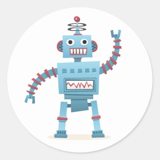 Cute retro robot android kids cartoon sticker