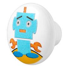 Cute Retro Robot - Blue, Orange, Yellow, White Ceramic Knob