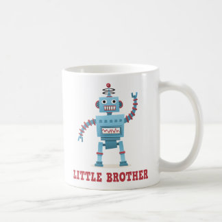 Cute retro robot cartoon android little brother classic white coffee mug