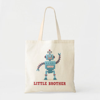 Cute retro robot cartoon android little brother tote bag