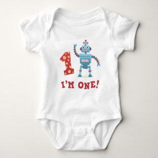 Cute retro robot cartoon I am one baby Baby Bodysuit