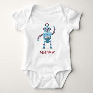Cute retro robot cartoon personalized baby baby bodysuit