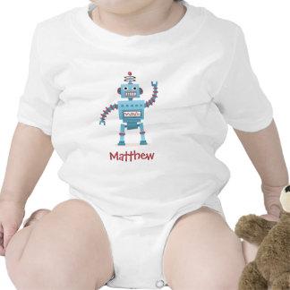 Cute retro robot cartoon personalized baby tees