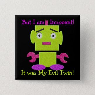 Cute Retro Robot - Ghoul Green - Evil Twin Pinback Button
