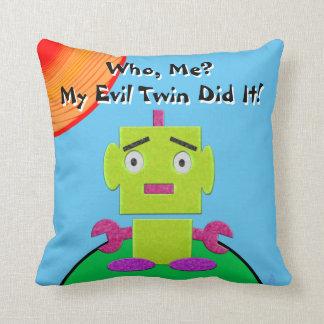 Cute Retro Robot - Ghoul Green - Evil Twin Throw Pillow