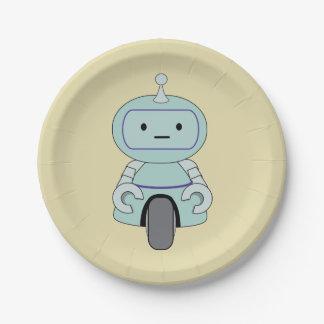 Cute Retro Robot Illustration Paper Plate