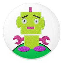 Cute Retro Robot - Lime, Kelly, Violet, White Ceramic Knob