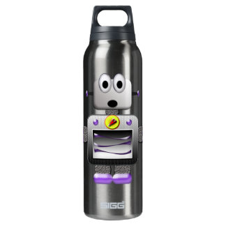 Cute Retro Robot Purple 16 Oz Insulated SIGG Thermos Water Bottle