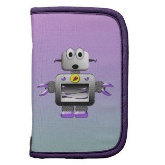 Cute Retro Robot Purple & Blue Folio Planner