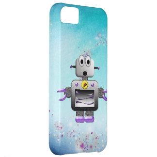 Cute Retro Robot Purple & Blue iPhone 5 Case