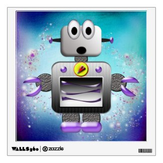 Cute Retro Robot Purple & Blue Wall Decal