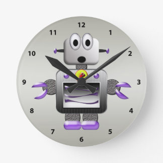 Cute Retro Robot Silver Clock