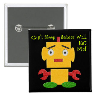 Cute Retro Robot - Yellow - Cant Sleep 2 Inch Square Button