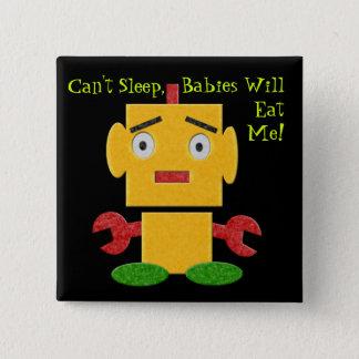 Cute Retro Robot - Yellow - Cant Sleep Pinback Button