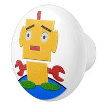 Cute Retro Robot - Yellow, Red, Green, Blue, White Ceramic Knob