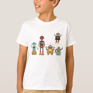 Cute Retro Robots Kids T-Shirt
