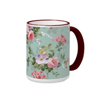 Cute Retro Rose Wallpaper Beautiful Floral Vintage Ringer Mug