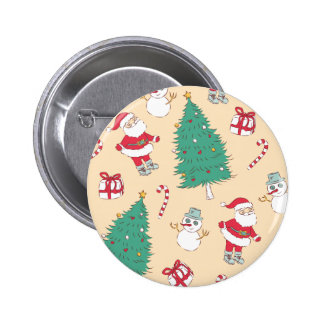 Cute retro santa claus and christmas tree pattern pinback buttons