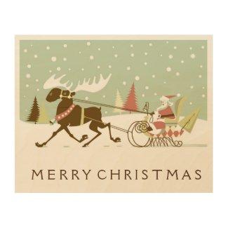 Cute Retro Santa Claus & Rein-deer Wood Wall Art