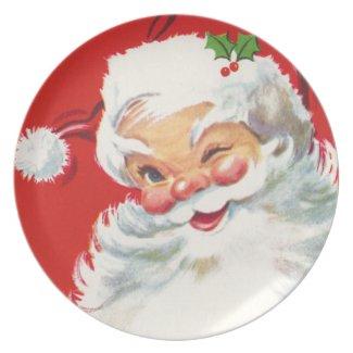 Cute Retro Santa Dinner Plate