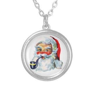 Cute Retro Santa Round Pendant Necklace