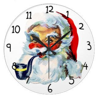 Cute Retro Santa with pipe Large Clock