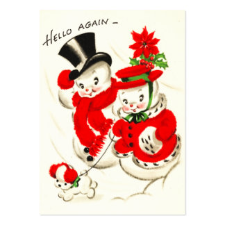 Cute Retro Snow Couple Name Tags Large Business Card
