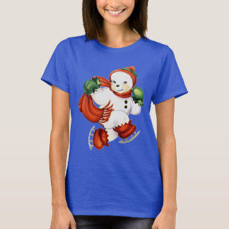 Cute Retro Snowman on Ice Skates Shirt