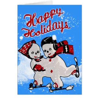 Cute Retro Snowmen Skaters (Personalized) Card