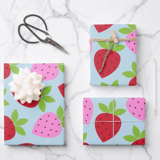 Cute Retro Strawberry Fruit Pattern Pink Red Blue Wrapping Paper Sheets