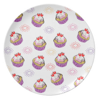 Cute Retro Style Cup Cakes Pattern Melamine Plate