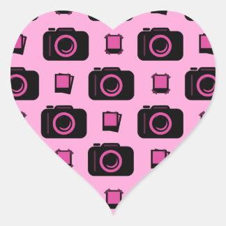 Cute Retro Style Pink Black Camera Pattern Heart Sticker