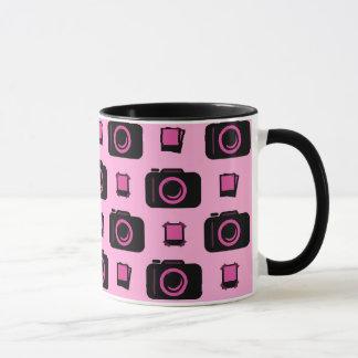 Cute Retro Style Pink Black Camera Pattern Mug