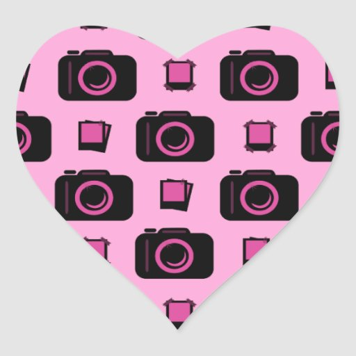 Cute Retro Style Pink Black Camera Pattern Heart Stickers
