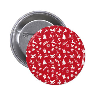 Cute retro style red and white Christmas pattern Pins
