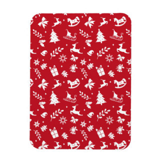 Cute retro style red and white Christmas pattern Vinyl Magnet
