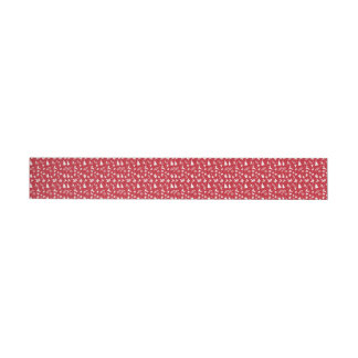 Cute retro style red and white Christmas pattern Wrap Around Address Label