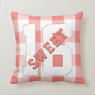 Cute Retro Sweet 16 Coral Plaid Sixteenth Birthday Throw Pillow
