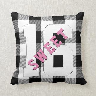 Cute Retro Sweet 16 Pink Black Plaid Birthday Throw Pillow