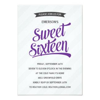 Cute Retro Sweet Sixteen Birthday Party 5x7 Paper Invitation Card
