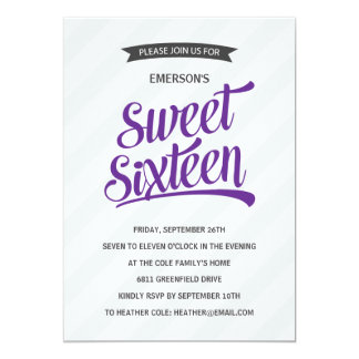 Cute Retro Sweet Sixteen Birthday Party Card