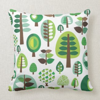 Cute retro trees forrest pattern pillow case