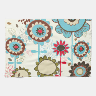 Cute retro turquoise blue floral pattern custom hand towel