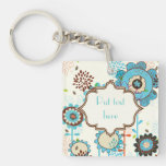 Cute retro turquoise blue floral pattern custom Single-Sided square acrylic keychain