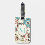 Cute retro turquoise blue floral pattern monogram tag for luggage