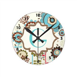 Cute retro turquoise blue floral pattern monogram round clock