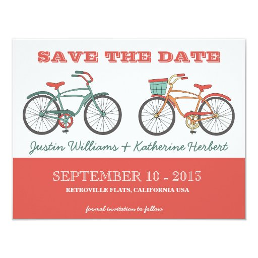 Cute Retro Vintage Bicycles Save the Date 4.25x5.5 Paper Invitation Card