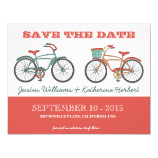 Cute Retro Vintage Bicycles Save the Date Personalized Invites