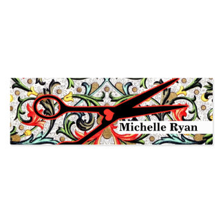 cute retro vintage floral scissors hair stylist Double-Sided mini business cards (Pack of 20)